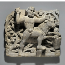 <p><i>Hercules Smiting Acheloos in the Form of a Bull</i>. Egypt, from Oxyrhynchus, c. 300&ndash;500 <small>C.E.</small> Limestone, 13<sup>3</sup>&frasl;<sub>8</sub> x 14<sup>3</sup>&frasl;<sub>4</sub> in. (34 &times; 37.5 cm). Brooklyn Museum, Charles Edwin Wilbour Fund, 61.128</p>