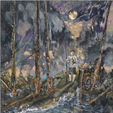 <p>Hernan Bas (American, born 1978). <i>Night Fishing</i>, 2007. Mixed media on linen over panel. Brooklyn Museum, Purchase gift of Shelley Fox Aarons and Philip E. Aarons, and Howard Wolfson, 2007.33. © Hernan Bas</p>