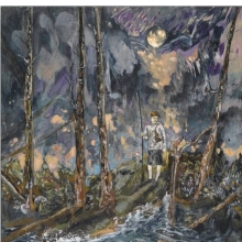 <p>Hernan Bas (American, b. 1978). <i>Night Fishing</i>, 2007. Mixed media on linen over panel. Brooklyn Museum, Purchase gift of Shelley Fox Aarons and Philip E. Aarons, and Howard Wolfson, 2007.33. © Hernan Bas</p>