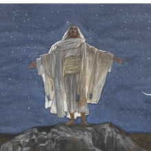 James Tissot (French, 1836−1902). Jesus Goes Up Alone onto a Mountain to Pray (detail), 1886−94. Opaque watercolor over graphite on gray wove paper, 1138 x 61⁄4 in. (28.9 × 15.9 cm). Brooklyn Museum, Purchased by public subscription, 00.159.137