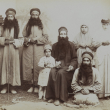 <p><i>A Family of Dervishes</i>. Possibly Antoin Sevruguin (Armenian-Georgian, 1830s–1933). Iran, late 19th–early 20th century. Silver albumen photograph. Brooklyn Museum, Purchase gift of Leona Soudavar in memory of Ahmad Soudavar, 1997.3.139</p>