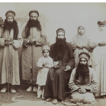<p><i>A Family of Dervishes</i>. Possibly Antoin Sevruguin (Armenian-Georgian, 1830s&ndash;1933). Iran, late 19th&ndash;early 20th century. Silver albumen photograph. Brooklyn Museum, Purchase gift of Leona Soudavar in memory of Ahmad Soudavar, 1997.3.139</p>