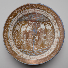 <p><i>Bowl of Reflections</i>. Iran, probably Kashan, early 13th century. Ceramic; fritware, painted in luster and blue over an opaque white glaze. Brooklyn Museum, Gift of the Ernest Erickson Foundation, Inc., 86.227.16</p>