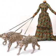 Yinka Shonibare MBE (b. United Kingdom, 1962). Leisure Lady (with Ocelots), 2001. Life-size fiberglass mannequin, three fiberglass ocelots, Dutch wax printed cotton, leather, glass. Vanhaerents Art Collection, Brussels, Belgium. Image courtesy of the artist; James Cohan Gallery, New York; and Stephen Friedman Gallery, London. © the artist