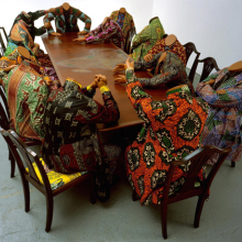 <p>Yinka Shonibare MBE (b. United Kingdom, 1962). <em>Scramble for Africa</em>, 2003. Fourteen life-size fiberglass mannequins, fourteen chairs, table, Dutch wax printed cotton, 52 × 192 × 110 in. The Pinnell Collection, Dallas. Image courtesy of the artist, Stephen Friedman Gallery, London, and James Cohan Gallery, New York. © the artist. Photo: Stephen White</p>