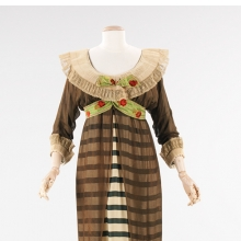 <p>Paul Poiret (French, 1879&ndash;1944). <i>Evening Dress</i>, 1910. Forest green and ivory striped silk, black silk chiffon, white cartridge pleated linen, brocaded ribbon. Brooklyn Museum Costume Collection at The Metropolitan Museum of Art, Gift of the Brooklyn Museum, 2009; Gift of Ogden Goelet, Peter Goelet, and Madison Clews in memory of Mrs. Henry Clews, 1961 (2009.300.1289)</p>