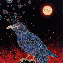 Fred Tomaselli (American, b. 1956). Big Raven, 2008. Acrylic, photocollage, and resin on wood panel, 84 × 72 in. (213.4 × 182.9 cm). Private collection, courtesy of the artist, White Cube, London, and James Cohan Gallery, New York
