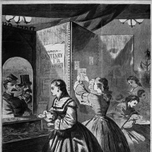 "<p>Winslow Homer (American, 1836–1910). <i>""Any Thing for Me, If You Please?"" Post Office of the Brooklyn Fair in Aid of the Sanitary Commission</i>, from <i>Harper's Weekly</i>, March 5, 1864. Wood engraving, sheet: 16 × 11<sup>3</sup>⁄<sub>8</sub> in. (40.6 × 28.9 cm). Brooklyn Museum, Gift of Harvey Isbitts, 1998.105.87</p>"