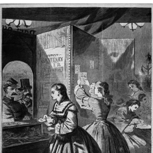 "<p>Winslow Homer (American, 1836–1910). <i>""Any Thing for Me, If You Please?"" Post Office of the Brooklyn Fair in Aid of the Sanitary Commission</i>, from <i>Harper's Weekly</i>, March 5, 1864. Wood engraving, sheet: 16 &#215; 11<sup>3</sup>⁄<sub>8</sub> in. (40.6 &#215; 28.9 cm). Brooklyn Museum, Gift of Harvey Isbitts, 1998.105.87</p>"