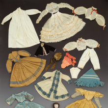 Doll and Wardrobe, Sanitary Fair. United States, circa 1864. Mixed media, doll approx. 12 in. (30.5 cm) high. Brooklyn Museum, Gift of Mrs. Ira B. Downs, 24.311mn