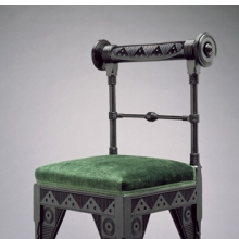 <p>Attributed to Daniel Pabst (American, born Germany, 1826–1910). <i>Side Chair</i>, circa 1880, Philadelphia. Ebonized cherry, later upholstery, 37<sup>1</sup>⁄<sub>8</sub> x 21<sup>3</sup>⁄<sub>4</sub> x 19 in. (94.3 &#215; 55.2 &#215; 48.3 cm). Brooklyn Museum, Marie Bernice Bitzer Fund, 2002.11</p>