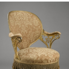 "<p>Thomas E. Warren (American, 1808–18?). <i>""Centripetal Spring"" Chair</i>, patented September 25, 1849. Manufactured by the American Chair Company (active 1829–1858). Cast iron, sheet metal, wood, modern upholstery, original fringe, 34<sup>1</sup>⁄<sub>4</sub> x 23<sup>1</sup>⁄<sub>2</sub> x 28<sup>1</sup>⁄<sub>4</sub> in. (87 &#215; 59.7 &#215; 71.8 cm). Brooklyn Museum, Designated Purchase Fund, 2009.27</p>"