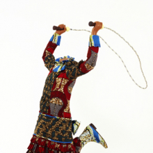 <p><em>Skipping Girl</em>. Yinka Shonibare MBE (British, b. 1962). London, 2009. Life-size fiberglass mannequin, Dutch-wax printed cotton, mixed media, 50<sup>1</sup>⁄<sub>4</sub> x 29 × 43 in. (127.6 × 73.7 × 109.2 cm). Gift of Edward A. Bragaline and purchase gift of William K. Jacobs, Jr., by exchange and Mary Smith Dorward Fund, 2010.8</p>