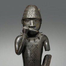 <p><em>Figure of a Horn Blower</em>. Unidentified Edo artist, circa 1504&ndash;50. Benin, Edo state, Nigeria. Copper alloy, 24<sup>1</sup>&frasl;<sub>2</sub> x 8<sup>1</sup>&frasl;<sub>2</sub> x 6 in. (62.2 &times; 21.6 &times; 15.2 cm). Gift of Mr. and Mrs. Alastair B. Martin, the Guennol Collection, 55.87</p>