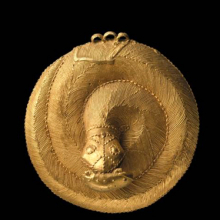 <p><em>Snake Pendant</em>. Unidentified Ebrié or Baule artist, 19th century. Central or southern Côte d'Ivoire. Gold, 3<sup>9</sup>⁄<sub>16</sub> x <sup>15</sup>⁄<sub>16</sub> in. (9 × 3.3 cm). Frank L. Babbott Fund, 54.161</p>