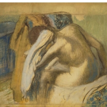 Edgar Degas (French, 1834–1917). Woman Drying Her Hair, ca. 1889. Pastel and graphite on brown wove paper mounted on board, 331⁄8 x 411⁄2 in. (84.1 × 105.4 cm). Brooklyn Museum, Museum Collection Fund, 21.113