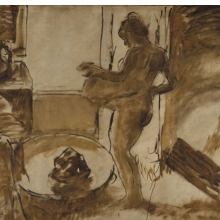 <p>Edgar Degas (French, 1834–1917). <i>Nude Woman Drying Herself</i>, ca. 1884–1886. Oil on canvas, 59<sup>3</sup>⁄<sub>8</sub> x 84<sup>1</sup>⁄<sub>8</sub> in. (150.8 &#215; 213.7 cm). Brooklyn Museum, Carll H. de Silver Fund, 31.813</p>