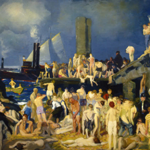 <p>George Wesley Bellows (American, 1882–1925). <em>Riverfront No.1</em>, 1915. Oil on canvas, 45<sup>3</sup>⁄<sub>8</sub> x 63<sup>1</sup>⁄<sub>8</sub> in. (115.3 × 160.3 cm). Columbus Museum of Art, Ohio: Howald Fund Purchase 1951.011</p>