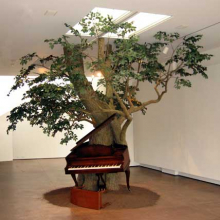 Sanford Biggers (American, b. 1970). Blossom, 2007. Steel, Zoopoxy, silk leaves, wood, piano with MIDI system. Courtesy of the artist and Michael Klein Arts