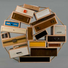"<p>Tejo Remy (Dutch, born 1960). <i>""You Can't Lay Down Your Memories"" Chest-of-Drawers</i>, model 45, designed 1991, made 2005. Made by Droog. The Netherlands. Maple, other wood, painted and unpainted metals, plastic, paper. Gift of Joseph McCrindle in memory of J. Fuller Feder, by exchange, 2005.36</p>"