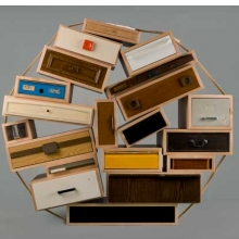 <p>Tejo Remy (Dutch, born 1960). <i>&ldquo;You Can&rsquo;t Lay Down Your Memories&rdquo; Chest-of-Drawers</i>, model 45, designed 1991, made 2005. Made by Droog. The Netherlands. Maple, other wood, painted and unpainted metals, plastic, paper. Gift of Joseph McCrindle in memory of J. Fuller Feder, by exchange, 2005.36</p>