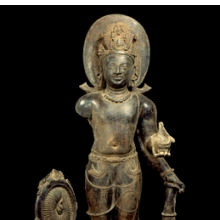 <p><i>Vishnu</i>. Eastern India (West Bengal) or Bangladesh, Gupta period, 5th century. Terracotta, 35<sup>7</sup>&frasl;<sub>16</sub> x 17<sup>5</sup>&frasl;<sub>16</sub> in. (90 &times; 44 cm). Private collection</p>