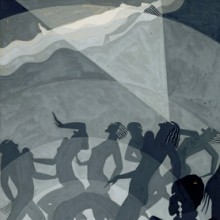 <p>Aaron Douglas (American, 1899–1979). <em>Congo</em>, circa 1928. Gouache and pencil on paper board, 14<sup>3</sup>⁄<sub>8</sub> x 9<sup>1</sup>⁄<sub>2</sub> in. (36.5 × 24.1 cm). North Carolina Museum of Art, Raleigh, Gift of Susie R. Powell and Franklin R. Anderson</p>