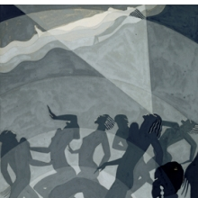 <p>Aaron Douglas (American, 1899&ndash;1979). <em>Congo</em>, circa 1928. Gouache and pencil on paper board, 14<sup>3</sup>&frasl;<sub>8</sub> x 9<sup>1</sup>&frasl;<sub>2</sub> in. (36.5 &times; 24.1 cm). North Carolina Museum of Art, Raleigh, Gift of Susie R. Powell and Franklin R. Anderson</p>