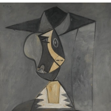 <p><i>Woman in Gray</i>, 1942. Pablo Picasso (Spanish, 1881&ndash;1973). Oil on canvas, 39<sup>1</sup>&frasl;<sub>4</sub> x 31 in. (99.7 &times; 81 cm). Brooklyn Museum; Gift of the Alex Hillman Family Foundation in memory and in honor of Rita K. Hillman, 2008.43</p>