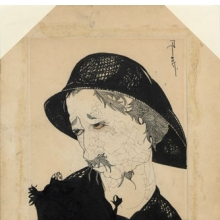 "<p><i>Man with moustache, fisherman's hat, looking left</i>, for ""On Going Fishing,"" <i>New York Morning Telegraph Sunday Magazine</i>, July 29, 1917. Ink on paper. Djuna Barnes Papers, Special Collections, University of Maryland Libraries</p>"