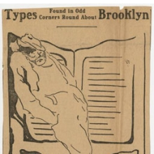"<p><i>What can he have Sown…</i>, from the series ""Types found in Odd Corners About Brooklyn,"" <i>Brooklyn Daily Eagle</i>, August 5, 1913. Djuna Barnes Papers, Special Collections, University of Maryland Libraries</p>"