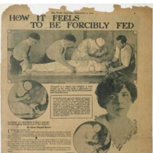 "<p>How it Feels to Be Forcibly Fed,"" <i>New York World Magazine</i>, September 6, 1914. Djuna Barnes Papers, Special Collections, University of Maryland Libraries</p>"