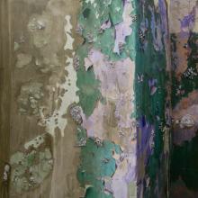 <p>Naomi Safran-Hon (Israeli, b. England, 1984). <i>Absent Present: Wadi Salib 18 (Green Wall)</i>, 2012. Archival inkjet print, lace, and cement on canvas and fabric, 62<sup>1</sup>⁄<sub>2</sub> x 60 in. (158.8 × 152.4 cm). Courtesy of the artist and Slag Gallery. © 2012 Naomi Safran-Hon</p>