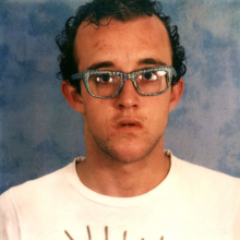 <p>Keith Haring (American, 1958–1990). <i>Self-Portrait with Glasses Painted by Kenny Scharf</i>, circa 1980. Polaroid photograph. Collection Keith Haring Foundation. © Keith Haring Foundation</p>