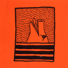 <p>Keith Haring (American, 1958–1990). <i>Untitled</i>, 1980. Ink on orange paper, 36 × 35<sup>1</sup>⁄<sub>2</sub> in. (91.4 × 90.2 cm). Collection Keith Haring Foundation. © Keith Haring Foundation</p>