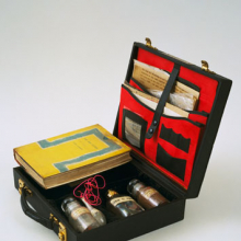 <p>John Latham (British, b. Zambia, 1921-2006). Art and Culture, 1966–69. Leather case containing book, letters, photostats, and labeled vials filled with powders and liquids: case, 3 × 11 × 10 in. (7.9 × 28.2 × 25.3 cm). The Museum of Modern Art, New York; Blanchette Hooker Rockefeller Fund. © 2011 John Latham. (Digital image: © The Museum of Modern Art/Licensed by SCALA/Art Resource, NY)</p>