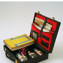 <p>John Latham (British, b. Zambia, 1921-2006). Art and Culture, 1966–69. Leather case containing book, letters, photostats, and labeled vials filled with powders and liquids: case, 3 &#215; 11 &#215; 10 in. (7.9 &#215; 28.2 &#215; 25.3 cm). The Museum of Modern Art, New York; Blanchette Hooker Rockefeller Fund. © 2011 John Latham. (Digital image: © The Museum of Modern Art/Licensed by SCALA/Art Resource, NY)</p>