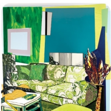 <p>Mickalene Thomas (American, b. 1971). <i>Interior: Green and White Couch</i>, 2012. Rhinestones, acrylic, oil, and enamel on wood panel. Collection of Miyoung Lee and Neil Simpkins, New York</p>