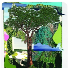 <p>Mickalene Thomas (American, b. 1971). <i>Landscape with Tree</i>, 2012. Mixed-media collage. Collection of Sandra and Michael Kamen</p>