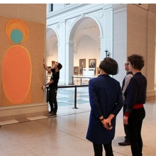 "<p>Shura Chernozatonskaya and curator Eugenie Tsai work with Museum staff to install <i>Art</i>, one of a pair of paintings that responds to the ""Art and Devotion"" section of the installation <i>European Paintings</i>, in the Beaux-Arts Court</p>"