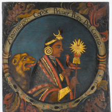 <p><i>Manco Capac, First Inca, 1 of 14 Portraits of Inca Kings</i>. Peru, probably mid-18th century. Oil on canvas, 23<sup>1</sup>⁄<sub>2</sub> x 21<sup>11</sup>⁄<sub>16</sub> in. (59.7 × 55.1 cm). Brooklyn Museum, Dick S. Ramsay Fund, Mary Smith Dorward Fund, Marie Bernice Bitzer Fund, Frank L. Babbott Fund, Gift of The Roebling Society and the American Art Council; purchased with funds given by an anonymous donor, Maureen and Marshall Cogan, Karen B. Cohen, Georgia and Michael deHavenon, Harry Kahn, Alastair B. Martin, Ted and Connie Roosevelt, Frieda and Milton F. Rosenthal, Sol Schreiber in memory of Ann Schreiber, Joanne Witty and Eugene Keilin, Thomas L. Pulling, Roy J. Zuckerberg, Kitty and Herbert Glantz, Ellen and Leonard L. Milberg, Paul and Thérèse Bernbach, Emma and J. A. Lewis, Florence R. Kingdon, 1995.29.1</p>