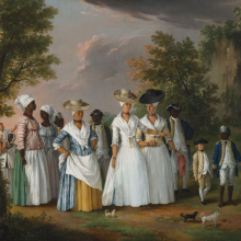 <p>Agostino Brunias (Italian, circa 1730–1796). <i>Free Women of Color with Their Children and Servants in a Landscape</i>, circa 1770–96. Oil on canvas, 20 × 26<sup>1</sup>⁄<sub>8</sub> in. (50.8 × 66.4 cm). Brooklyn Museum, Gift of Mrs. Carll H. de Silver in memory of her husband, by exchange and gift of George S. Hellman, by exchange, 2010.59</p>