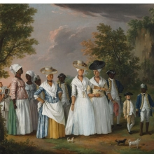 <p>Agostino Brunias (Italian, circa 1730–1796). <i>Free Women of Color with Their Children and Servants in a Landscape</i>, circa 1770–96. Oil on canvas, 20 &#215; 26<sup>1</sup>⁄<sub>8</sub> in. (50.8 &#215; 66.4 cm). Brooklyn Museum, Gift of Mrs. Carll H. de Silver in memory of her husband, by exchange and gift of George S. Hellman, by exchange, 2010.59</p>