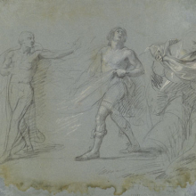 "<p>John Singleton Copley (American, 1738–1815). <i>Studies for ""Saul Reproved by Samuel in Not Obeying the Commandments of the Lord,""</i> 1797–98. Black crayon and white chalk on blue laid paper, 12<sup>1</sup>⁄<sub>4</sub> x 14<sup>1</sup>⁄<sub>4</sub> in. (31.1 × 36.2 cm). Brooklyn Museum, Purchased with funds given by Mr. and Mrs. Leonard L. Milberg, 1990.126.1a–b</p>"