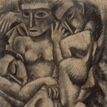 <p>Max Weber (American, b. Russia, 1881–1961). <i>Composition with Four Figures</i>, 1910. Charcoal and pastel on laid paper, 24<sup>1</sup>⁄<sub>4</sub> x 18<sup>1</sup>⁄<sub>4</sub> in. (61.6 × 46.4 cm). Brooklyn Museum, Dick S. Ramsay Fund, 57.17</p>