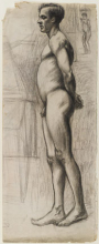 <p>Edward Hopper (American, 1882–1967). <i>Male Nude</i>, circa 1903–4. Graphite and charcoal on cream paper, 24 × 9<sup>5</sup>⁄<sub>8</sub> in. (61 × 24.4 cm). Brooklyn Museum, Gift of Mr. and Mrs. Morton Ostrow, 82.253.2</p>