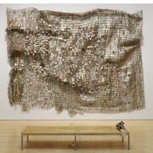<p>El Anatsui (Ghanaian, b. 1944). <i>Ozone Layer</i>, 2010. Aluminum and copper wire, 165<sup>3</sup>⁄<sub>8</sub> x 212<sup>5</sup>⁄<sub>8</sub> in. (420.1 &#215; 540.1 cm). Courtesy of the artist and Jack Shainman Gallery, New York. Brooklyn Museum photograph</p>