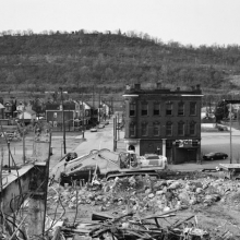 <p>LaToya Ruby Frazier (American, b. 1982). <i>Fifth Street Tavern and U.P.M.C. Braddock Hospital on Braddock Avenue</i>, 2011. Gelatin silver photograph, 20 × 24 in. (50.8 × 61 cm). Courtesy of the artist. © LaToya Ruby Frazier</p>