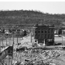 <p>LaToya Ruby Frazier (American, b. 1982). <i>Fifth Street Tavern and U.P.M.C. Braddock Hospital on Braddock Avenue</i>, 2011. Gelatin silver photograph, 20 &#215; 24 in. (50.8 &#215; 61 cm). Courtesy of the artist. © LaToya Ruby Frazier</p>