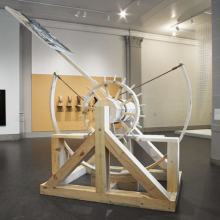 "<p>Caitlin Cherry (American, b. 1987). <i>Dual-Capable Catapult Artcraft ""Your Last Supper, Sucker,""</i> 2013. Brooklyn Museum installation. Oil on canvas with wood and rope construction, 72 × 96 × 120 in. (182.88 × 243.84 × 304.8 cm); overall dimensions variable. Courtesy of the artist (Photo: Brooklyn Museum)</p>"